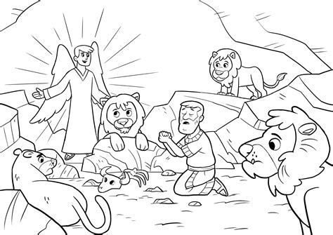 coloring page daniel in lions den daniel and the lions den coloring page freecolorngpages co