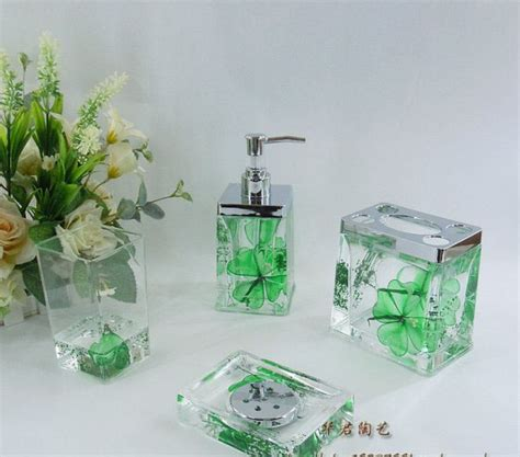 green bathroom accessories sets green floral acrylic bath accessory sets h4008 wholesale