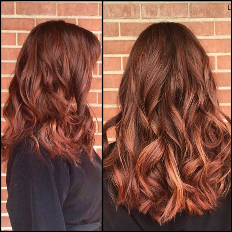 auburn copper hair color auburn balayage ombr 233 with warm red and copper painted