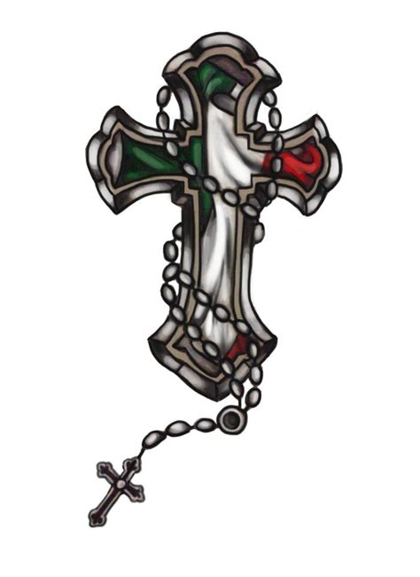italian cross tattoos italian flag cross with rosaries tattoos