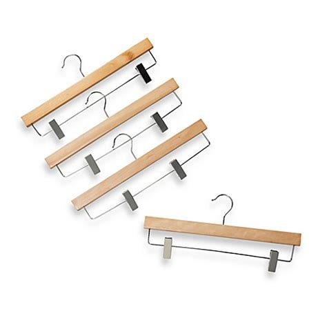 hangers bed bath and beyond natural wood 11 inch skirt hangers with cls set of 4
