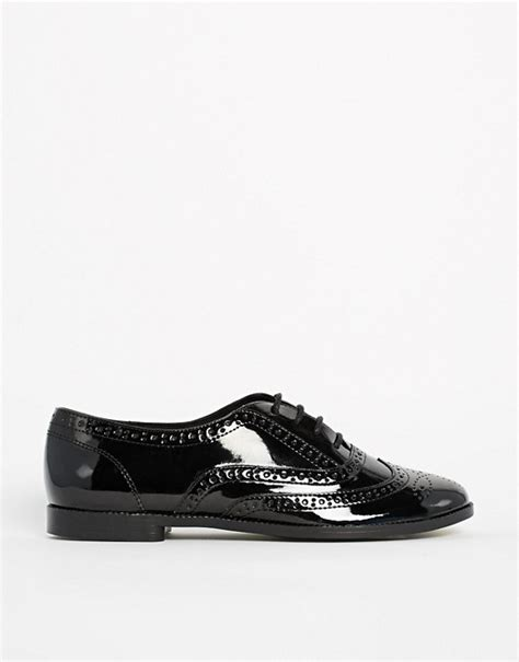 new look new look komedian patent black brogue flat shoes