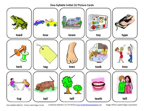 free therapy testy yet trying initial t free speech therapy articulation picture cards