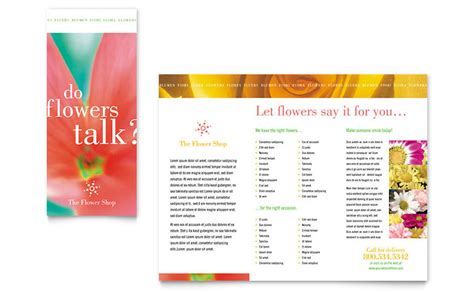 Florist Shop Brochure Template Word Publisher Flyer Template Publisher