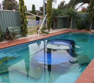 Backyard Pools For Adults Mitsubishi Lancer Spins Out Of And Ends Up In The