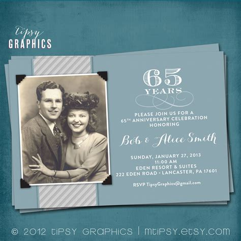 Wedding Anniversary Announcement blue silver 65th wedding anniversary invitation or