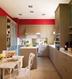 Kitchen Accent Wall Ideas by Modern Beige Kitchen Design With Red Walls Digsdigs