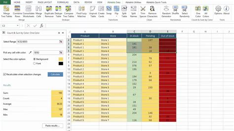 count cells by color count and sum cells by color in excel