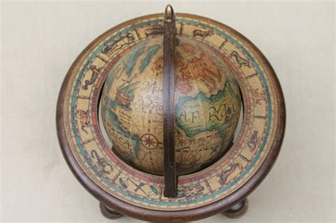 medieval style astrolabe sphere, decorative wood globe