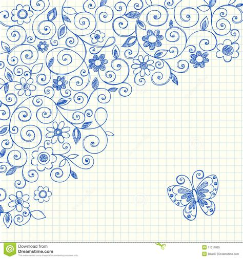 doodle on paper vines sketchy notebook doodles on graph paper stock vector