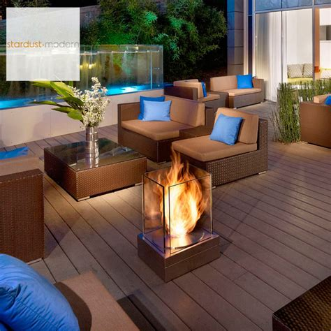 Modern Outdoor Landscape Patio Design With Ecosmart Mini Contemporary Patio Designs