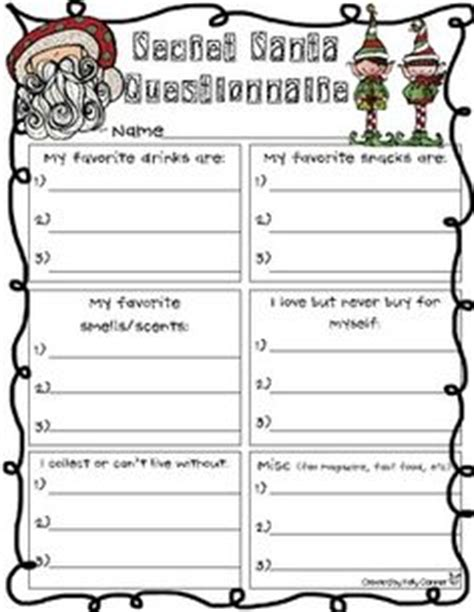 christmas exchange questionnaire 1000 images about on secret santa secret santa questionnaire and