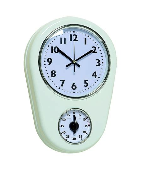 horloges murales cuisine horloge murale de cuisine en m 233 tal blanc avec minuteur