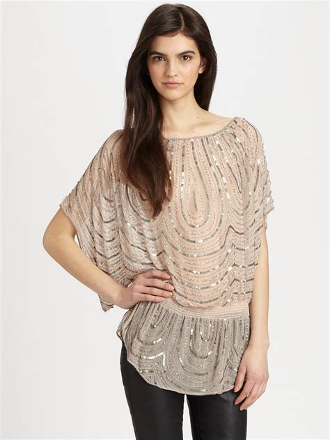 pink beaded top beaded dolman tunic top in pink lyst