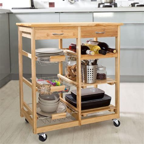 Kitchen Rolling Cart With Drawers by Rolling Bamboo Kitchen Storage Cart Rack With Drawer