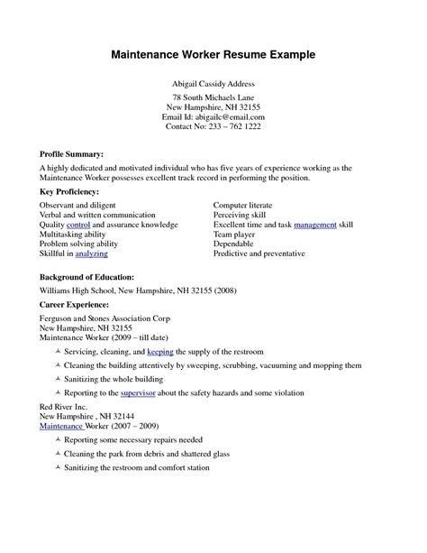 House Cleaninc Resume Builder Exle Of Resume For Cleaning Slebusinessresume
