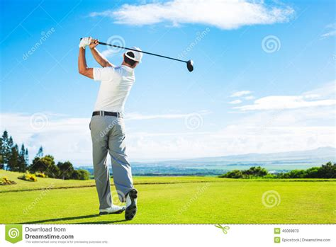 on full swing man playing golf stock photo image of player exercise
