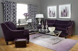 Grey color design ideas on rug with purple sofas