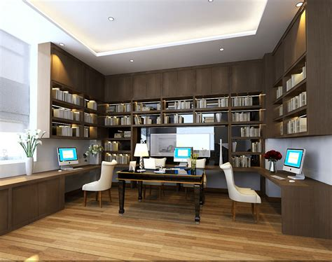 library interior design desk 3d house free 3d house 3d models office scene photoreal 3d model max cgtrader com