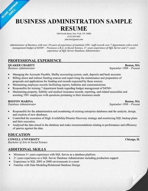 Cv In Business Business Administration Resume Sles Sle Resumes