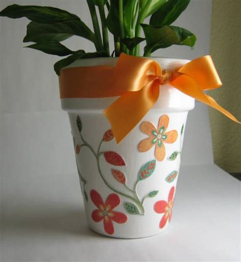 Paper Craft Flower Pot - mod podge flower pot by snatermom cards and paper crafts
