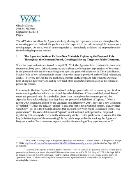 Letter Withdrawal Membership Cooperative Coalition Letter Urging Withdrawal Of Epa Corps Waters Of The U S