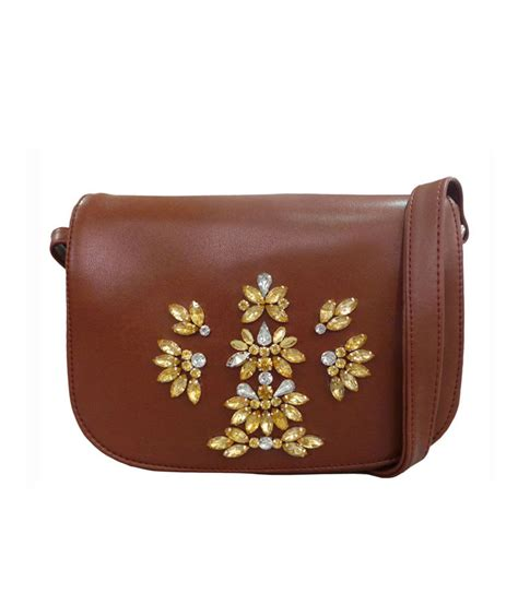 Slingbag Button buy toteteca bag works brown magnit button sling bag at best prices in india snapdeal