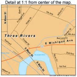 Three Rivers Michigan Map by Three Rivers Michigan Street Map 2679760