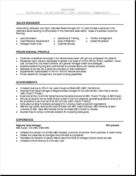 Healthcare Resume Exles Health Care Resume Templates Sales Manager Health Care