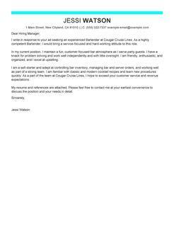 Bartender Server Cover Letter by Bartender Cover Letter Exles Media Entertainment Cover Letter Sles Livecareer