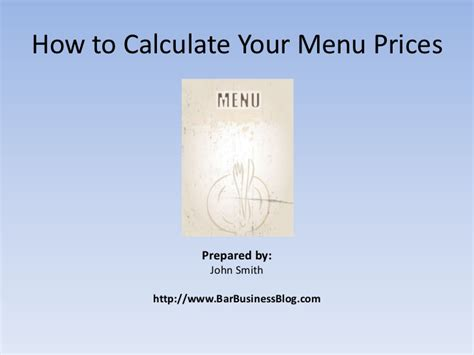how to calculate your menu prices