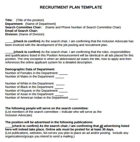 recruitment business plan template free sle recruitment plan templates 7 free documents in pdf