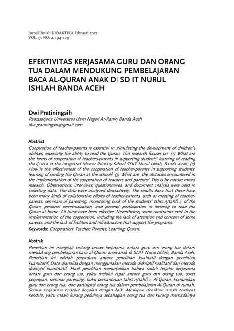 efektivitas kerjasama guru   tua