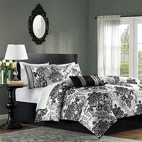 queen black white gray medallion damask bedroom 7 pc buy madison park bella 7 piece queen comforter set from