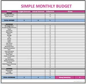 simple monthly budget template monthly budget worksheet excel abitlikethis
