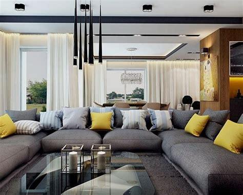 bilder modernen salons modernes wohnzimmer mit dunklem sofa einrichten 55 ideen