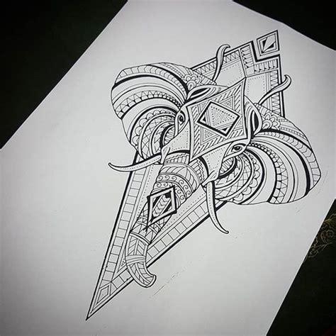 great dotwork elephant head on rhombus background tattoo