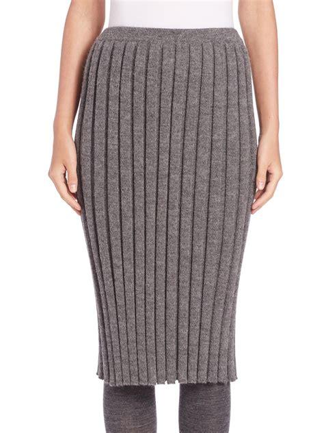 A Detacher Rib Knit Pencil Skirt In Gray Lyst