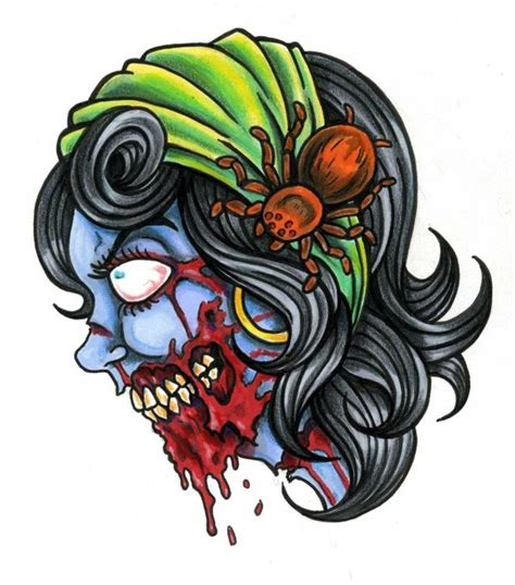 zombie girl tattoo designs pin up design for arm by joe capobianco