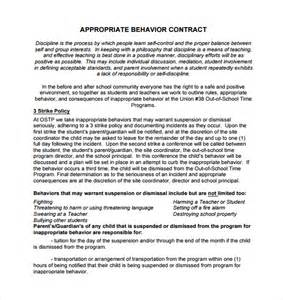 Parent Child Behavior Contract Template by Sle Behaviour Contract 14 Free Documents In