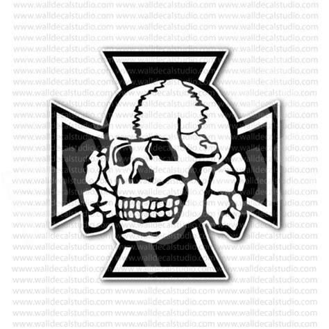 Ss Aufkleber Helm by From 4 00 Buy German Iron Cross Skull Crossbones