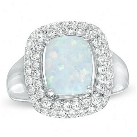 cushion cut lab created opal and white sapphire ring in