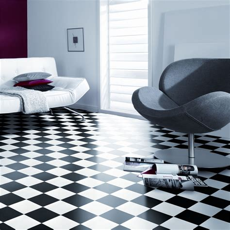Black And White Vinyl Sheet Flooring by Senso Essential 3m Wide Damier Black And White Sheet Vinyl