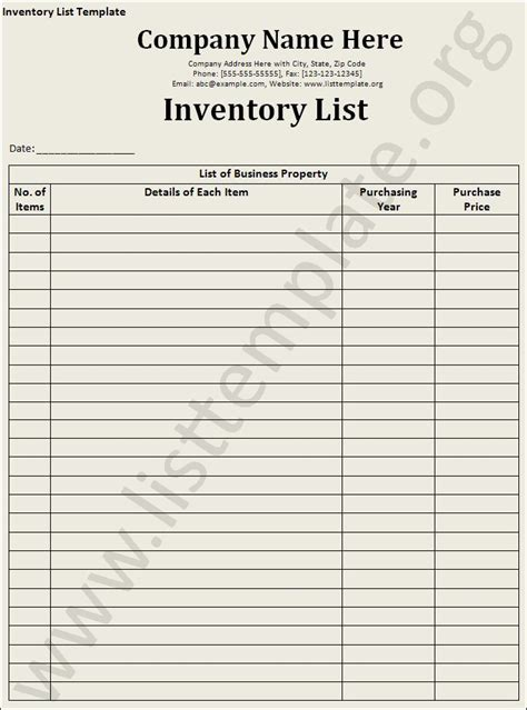 Hair Inventory List by Inventory List Template Craft Ideas Craft