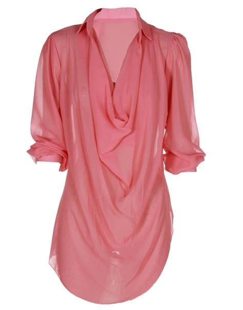 Pastel Blouse Mode Colour coral pink plunge neck chiffon layered blouse
