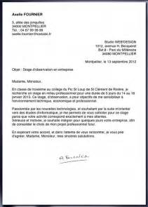 Exemple Lettre De Motivation Stage Pdf Au Coll 232 Ge Cv Pour Le Stage De Troisi 232 Me