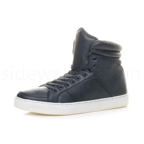 high top boots mens boys hi high top flat casual lace up trainers ankle