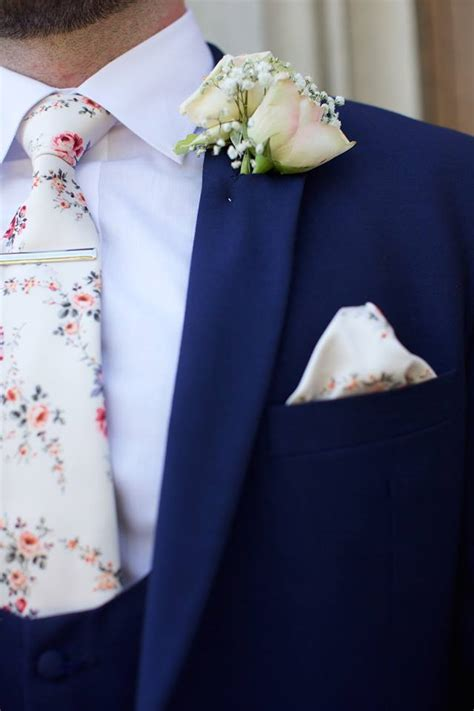 wearing a royal blue suit for wedding my wedding ideas ivory vintage floral wedding tie with royal blue slim fit