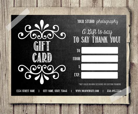 Gift Cards For Photographers - gift card certificate template for photographers chalkboard