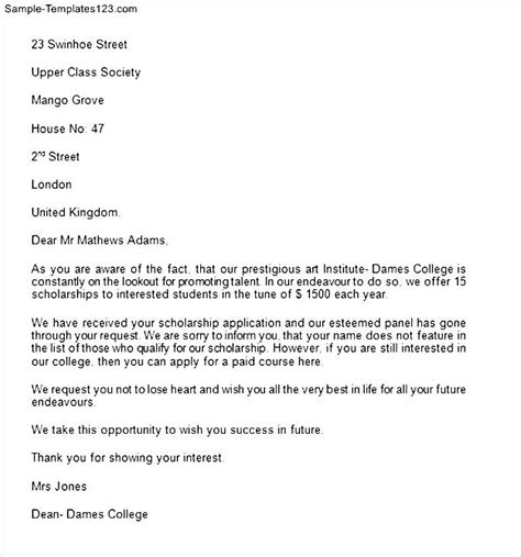 Rejection Letter Of Credit Credit Application Rejection Letter Sle Templates